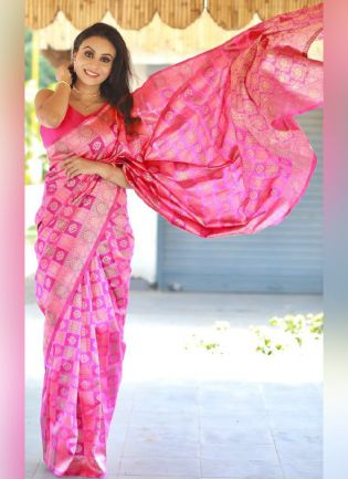Exceptional Pink Color Silk Base Traditional Wear Saree With Matching Color Blouse
