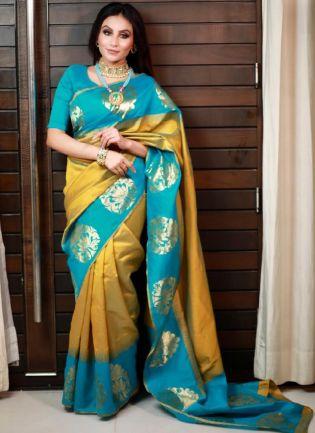 Astonishing Turquoise And Mustard Yellow Color Silk Base Saree