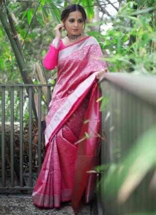 Tremendous Pink Color Silk Base Kanchipuram Saree