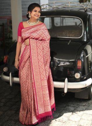 Charming Pink Color Silk Base Wedding Wear Banarasi Saree