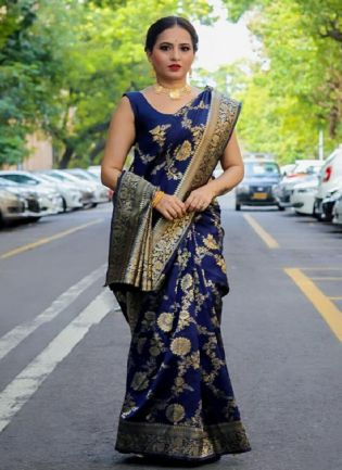 Attractive Navy Blue Color Silk Base Embroidered Saree