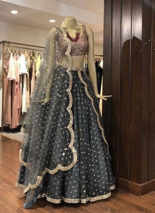Stylish Grey Color Heavy Sequins Work Elegant Designer lehenga Choli