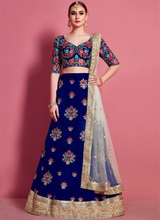 Navy Blue Floral Motif Art Silk Base Wedding Wears Lehenga Choli