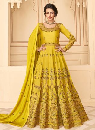 Stunning Yellow Color Silk Base Anarkali Suit