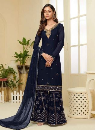 Glamorous Navy Blue Color With Embroidered Work Palazzo Suit