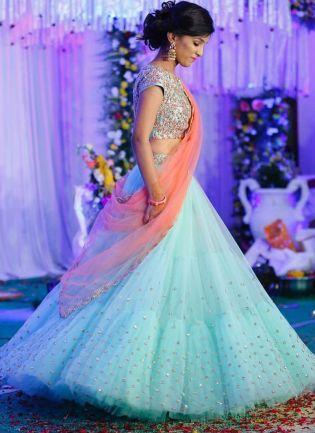 Designer Party Wear Net Base Blue Lehenga Choli