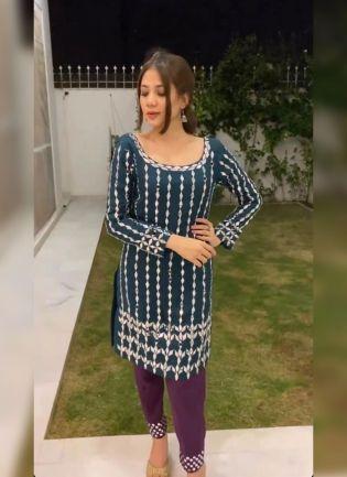 Blue Mirrorwork Zari Georgette Silk Pant Style Salwar Suit