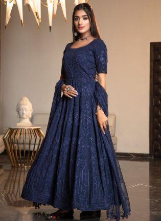 Blue Resham Stonework Georgette Anarkali Salwar Suit