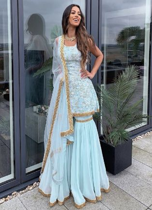 Designer Look Sky Blue Color Georgette Base With Embroidery Work Sharara Suit