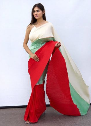 Party Wear Look Three Shades Chino Fabric Base Saree With Silk Blouse