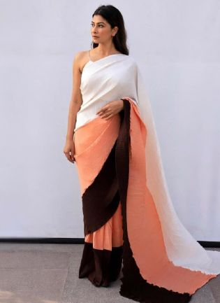 Trendy Multi-Color Primmum Chino Fabric Base Saree With Silk Blouse