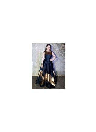 Spectacular Deep Black Foil Print Designer Party Wear Gown