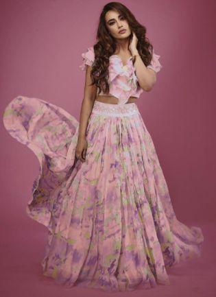 Fairy Look Pink Color Flared Lehenga Choli