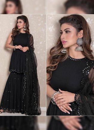 Black Color Party Wear Georgette Base Designer Sharara Suit