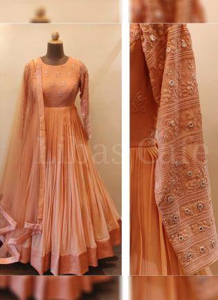 Saffron Orange Color Party Wear Georgette Base Anarkali Suit