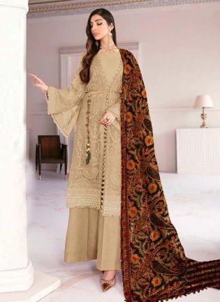 Amazing Georgette Fabric Beige Color Pakistani Palazzo Salwar Suit
