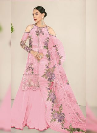 Attractive Peach Color Georgette Base Long Choli Sharara Suit