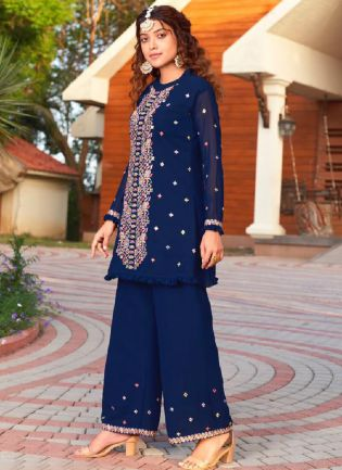 Eye-Captivating Blue Color Georgette Base Heavy Work Palazzo Salwar Suit
