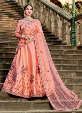 Peach Colored Satin Silk Base Lehenga Choli Online
