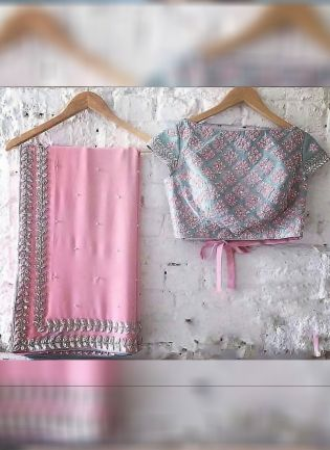 Pink Color Georgette base Pearl Work saree