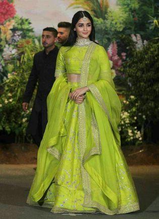 Exclusive Neon Green Color Wedding Wear Lehenga Choli
