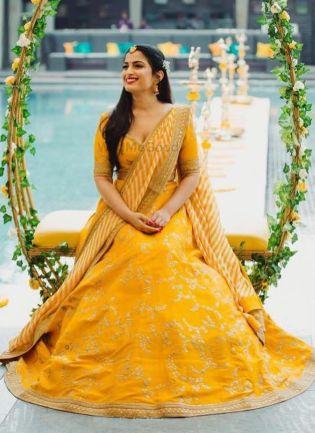Spectacular Mustard Yellow Banglori Silk Base Lehenga Choli