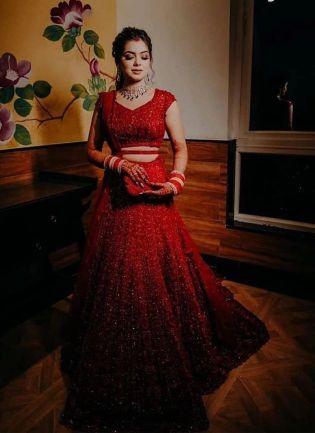 Red Sequins Zari And Silk Soft Net Fashion Lehenga Choli