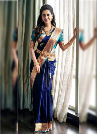 Matte Blue Bollywood Saree With Heavy Silk Weave Details
