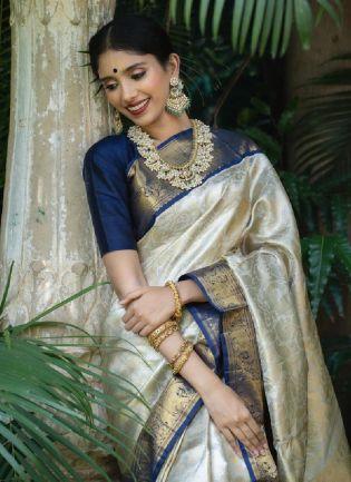 Glitzy White And Navy Blue Color Kanjiwaram Silk Base Wedding Wear Saree