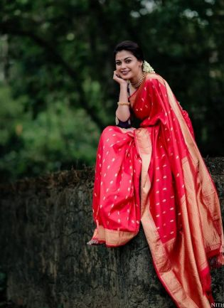 Eye-captivating Red Color Silk Base Saree With Blue Color Silk Blouse