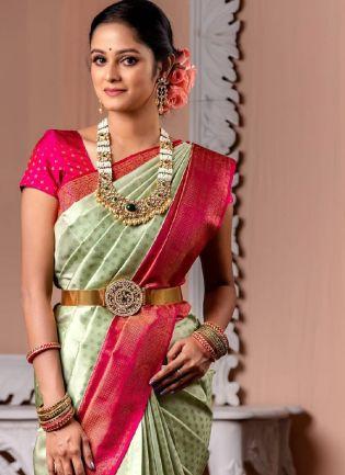 Beautiful Kanchipuram Silk Base Wedding Wear Saree