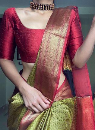 Green And Maroon Color Soft Silk Base Wedding Wear Saree