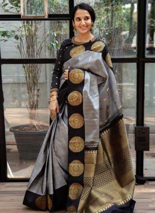 Modest Grey Silk With Silk Weaving Festive Saree
