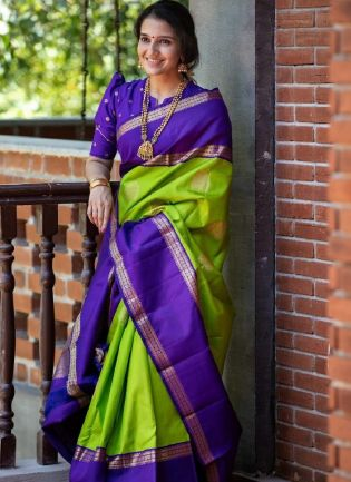 Pale Green Bollywood Saree With Silk Weave Details