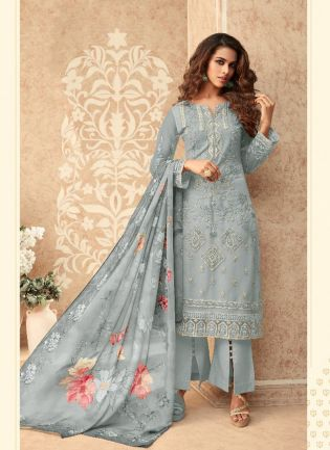 Glowing Grey Soft Net Straight Salwar Suit