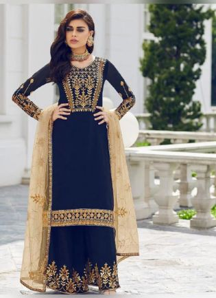 Attractive Navy Blue color With Georgette Base Pakistani Palazzo Suit