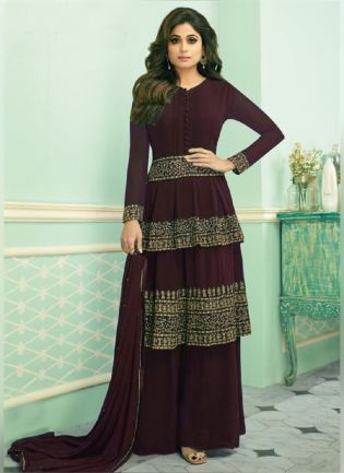Marvelous Wine Color Georgette Base Embroidered Palazzo Suit