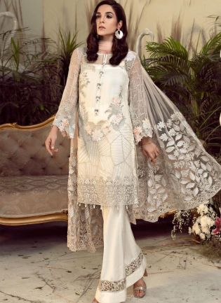Trendy Off-White Georgetta Salwar Kameez