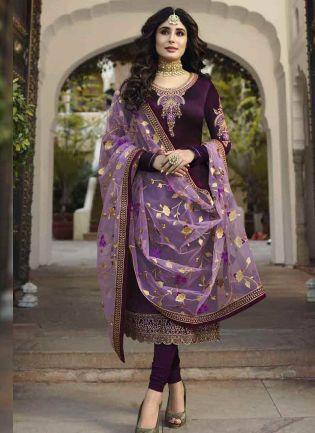 Purple Color Georgette Base Embroidered Salwar Kameez Suit