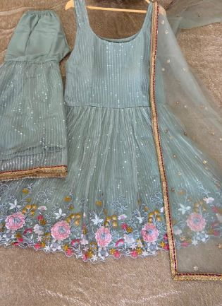 Attractive Look Sky Blue Color Soft Net Base Sequins Work Designer Sharara Suit