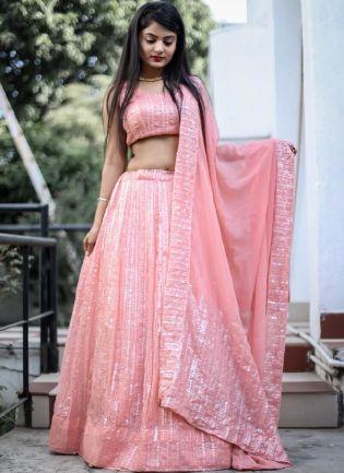 Eye-Catching Baby Pink Color Georgette Base Sequins Work Designer Lehenga Choli