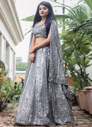 Glamorous Grey Color Georgette Base Sequins Work Designer Lehenga Choli