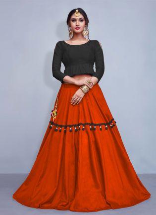 Elegance Black Crop Top With Tassels Decorated Orange Skirt