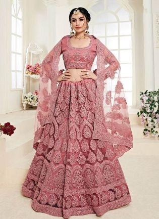 Stunning Pink Color Lehenga With Resham Dori Work