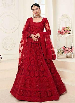 Marvelous Red Color Lehenga With Resham Dori Work