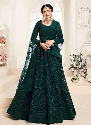Brilliant Green color With Resham Base Lehenga Choli