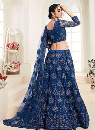Brilliant Blue Color With Stone Base Lehenga Choli
