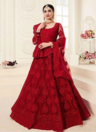 Stunning Red Color With Stone Base Lehenga Choli