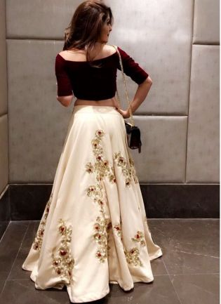 Trendy Off White And Maroon Color Party Wear Crop Top