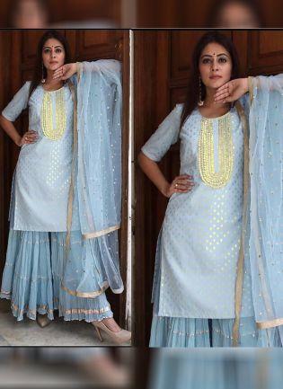 Sky Blue Color Designer Party Wear Sharara Suit